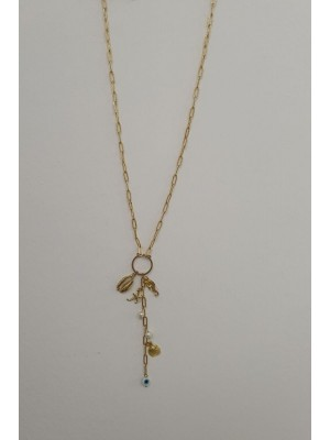Flat Chain Sea Figured Women's Necklace -Gold
