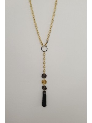 Large Chain Rope Tasseled Stone Women's Necklace -Gold