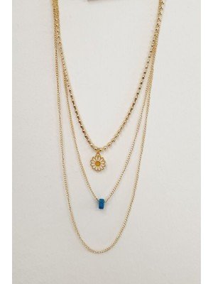 Three Chain Daisy Detail Women's Necklace -Gold