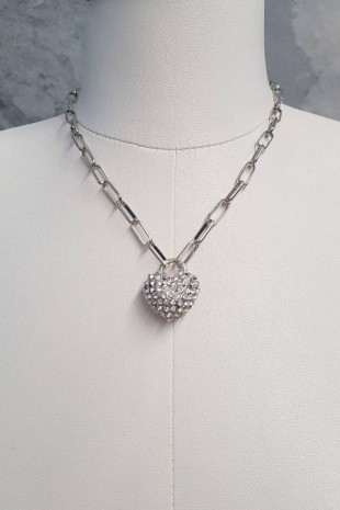 Taşlı Kalpli Kolye -Gümüş