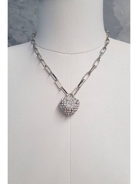 Heart Necklace With Stone -Silver