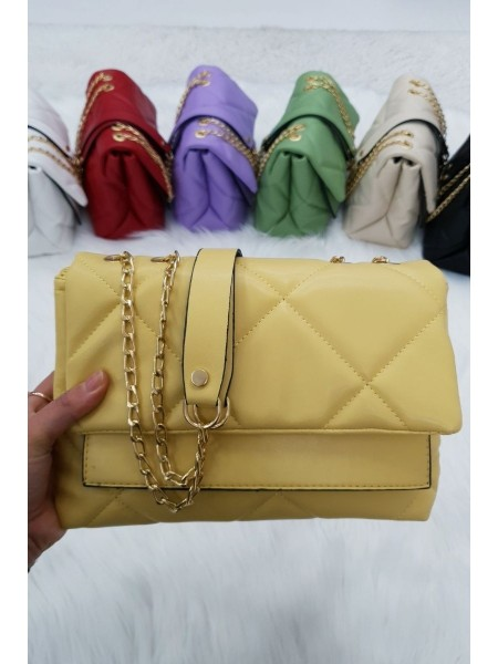 Quilted Chain Bag -Yellow
