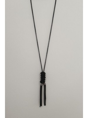 Tulle Chain Glass Bead Tasseled Women's Necklace -Black