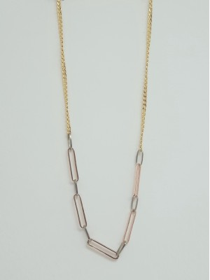 Long Chain Detail Women's Necklace with Snap Chain -Gold