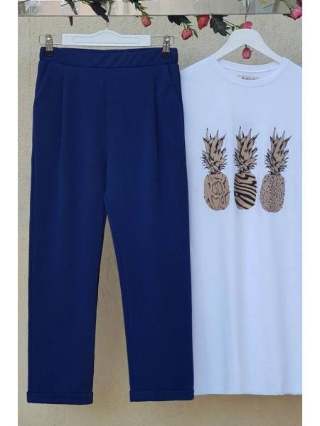 Woven Steel Trousers -Navy blue