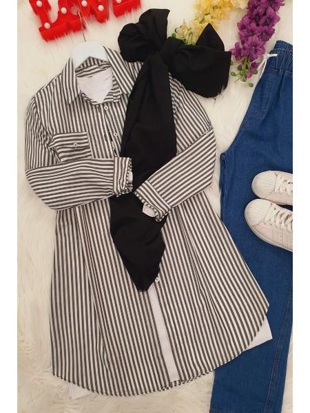 Pocket Striped Tunic -Smoked