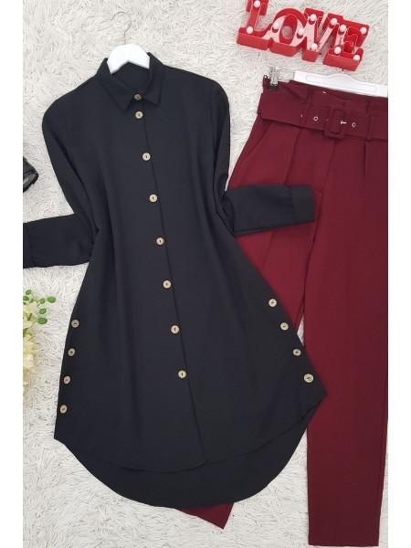 Button Detail Ayrobin Tunic-Black