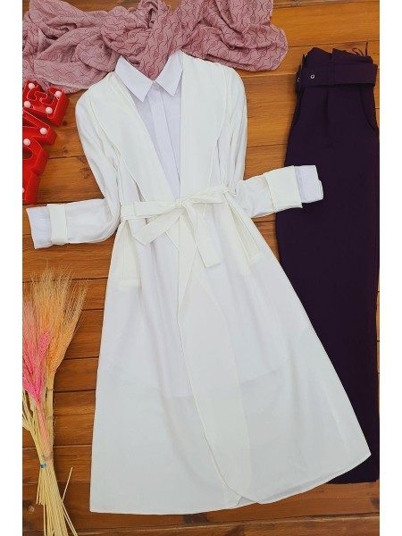 Belted Cape   -White