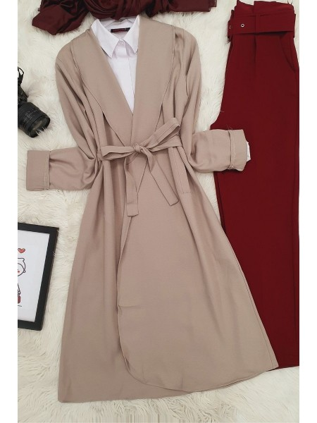 Belted Cape  -Cream color