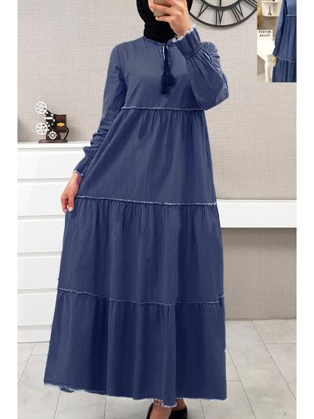 Kolları Lastikli Parçalı Kot Elbise  -Blue