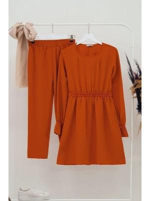 Gathered Waist Double Suit  -Orange