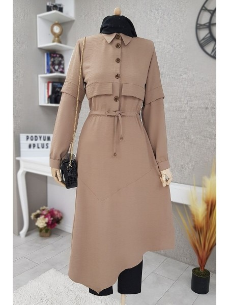 Verev Cut Long Tunic With Laced Waist-Mink color