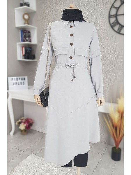 Verev Cut Long Tunic With Laced Waist -Grey