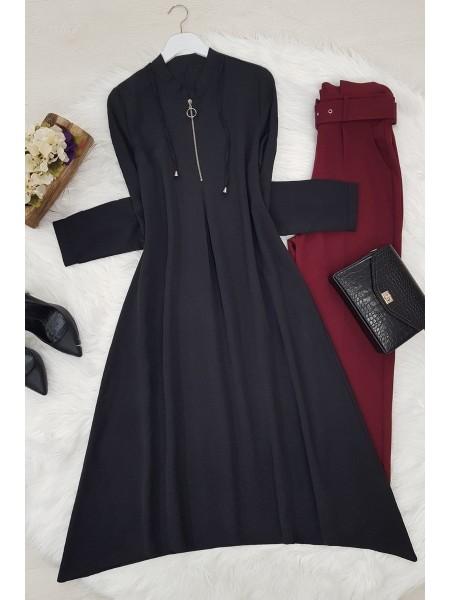 Half Zippered Judge Collar Tunic-Black