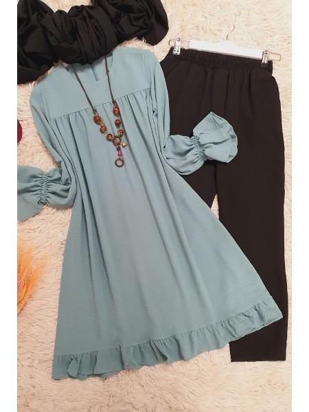 Kolları Lastikli Ayrobin Tunik   -Mint Color