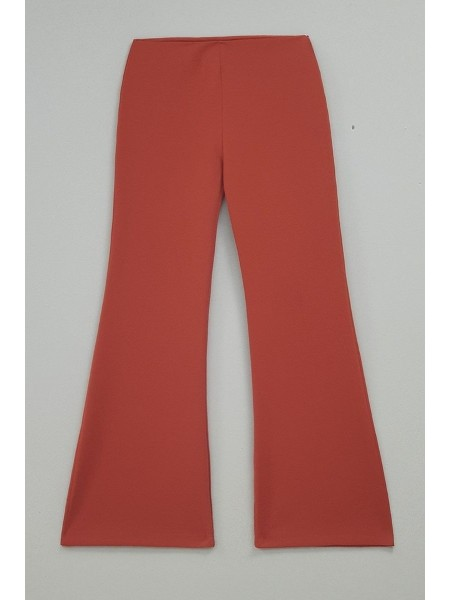 Belted Flared Trousers -Brick color