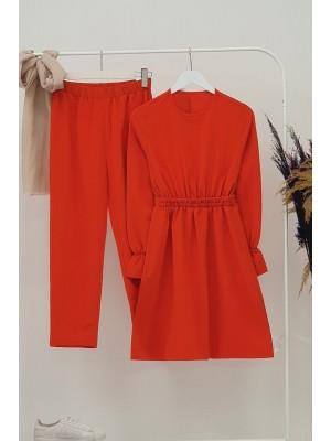 Gathered Waist Double Suit  -Garnet Color