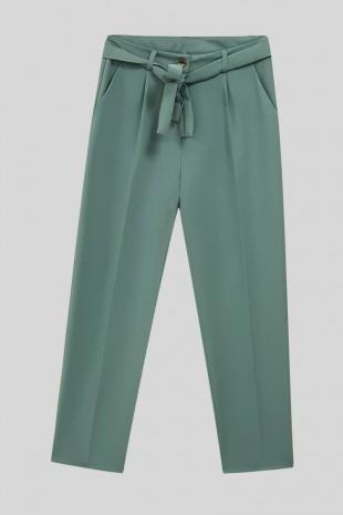 Kemerli Bilek Pantolon  -Mint