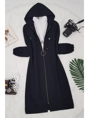 Zippered Ayrobin Cape -Black