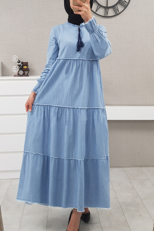 Kolları Lastikli Parçalı Kot Elbise -Açık Mavi