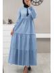 Kolları Lastikli Parçalı Kot Elbise -Light blue