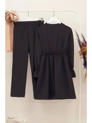 Gathered Waist Double Suit  -Black