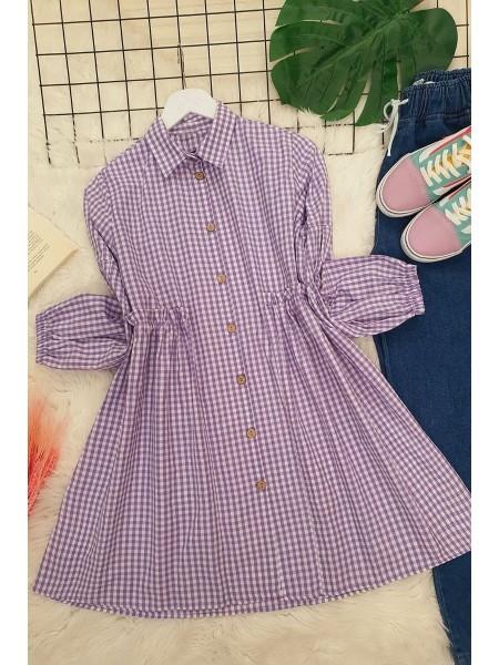 Plaid Ruffle Waist Shirt -Lilac