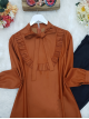 Frilly Front and Sleeves Tied Collar Leather Coated Tunic  -Brick color