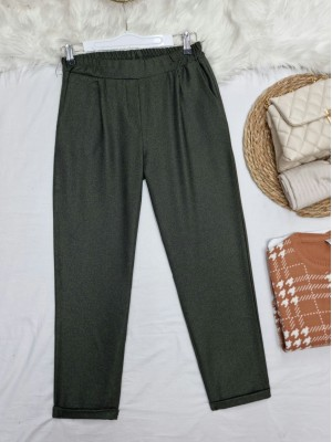 Elastic Waist Double Pocketed Double Leg Trousers -Khaki