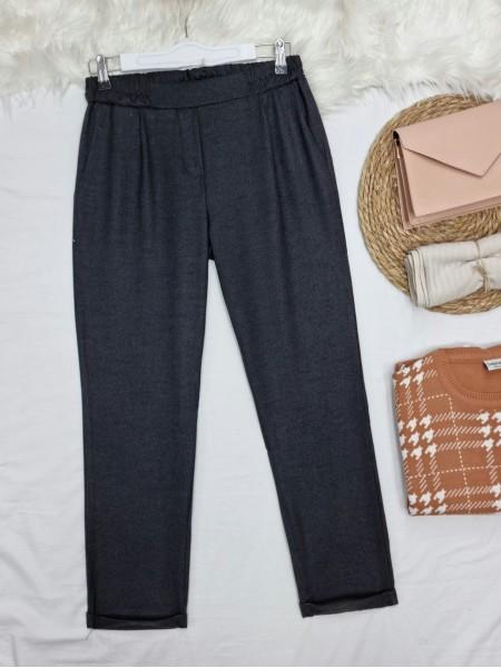 Elastic Waist Double Pocketed Double Leg Trousers -Black