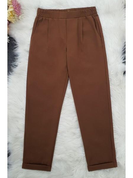 Waist Elastic Pants   -Brown