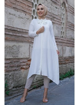 Lace Tunnel Collar Ayrobin Tunic -White