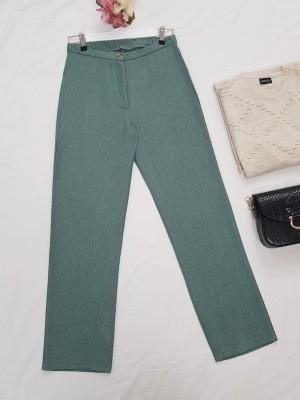 Single Button Front Zipper Winter Trousers -Mint Color