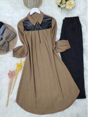 Front Pleated Leather Detailed Sleeve Elastic Tunic -Mink color
