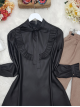 Frilly Front and Sleeves Tied Collar Leather Coated Tunic -Black
