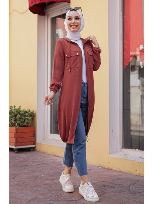 Hooded Sleeve and Skirt Elastic Pocket Combed Cotton Coat -Dried rose