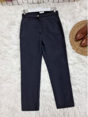 Single Button Front Zipper Winter Trousers -Black