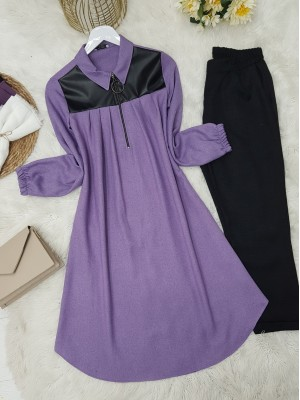 Front Pleated Leather Detailed Sleeve Elastic Tunic -Lilac