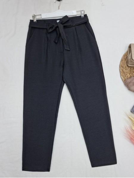 Tie Waist Pocket Slim Leg Trousers -Black