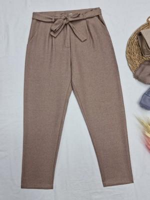 Tie Waist Pocket Slim Leg Trousers -Mink color