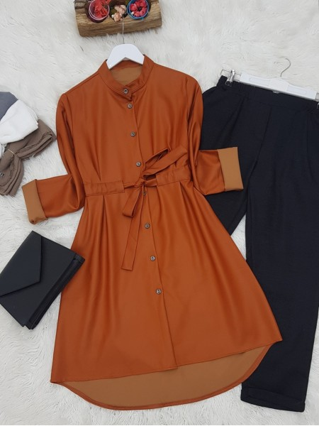Judge Collar Lace-up Metal Button Leather Coated Tunic -Brick color