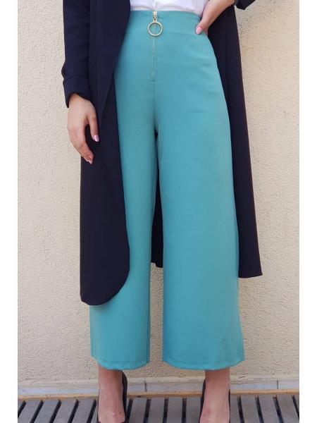 Front Zipper Plenty Trousers -Mint Color