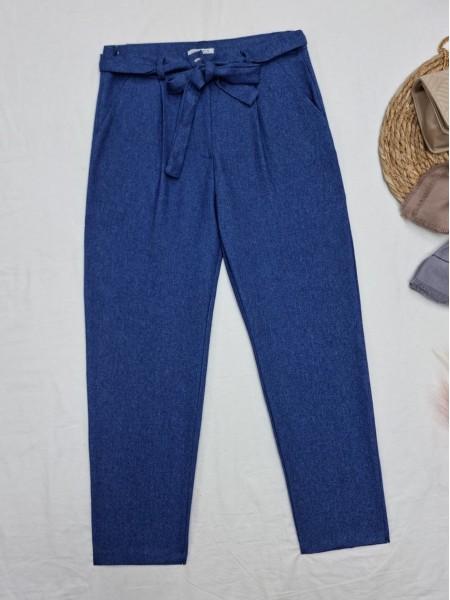 Tie Waist Pocket Slim Leg Trousers -İndigo