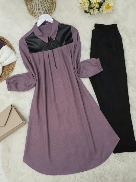 Front Pleated Leather Detailed Sleeve Elastic Tunic -Damson
