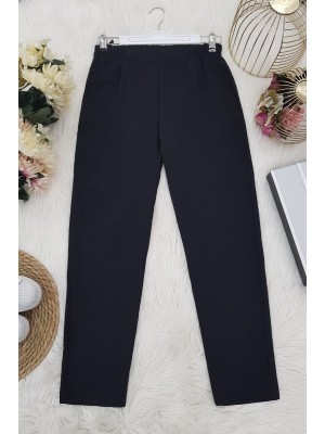 Elastic Waist Ayrobin Trousers -Black
