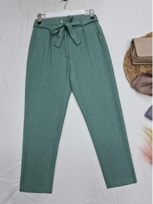 Tie Waist Pocket Slim Leg Trousers -Mint Color