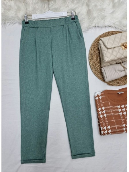 Elastic Waist Double Pocketed Double Leg Trousers -Mint Color