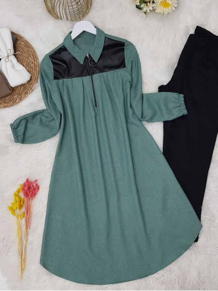 Front Pleated Leather Detailed Sleeve Elastic Tunic -Mint Color