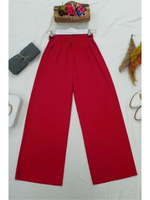 Elastic Waist And Lace-Up Viscose Trousers -Red