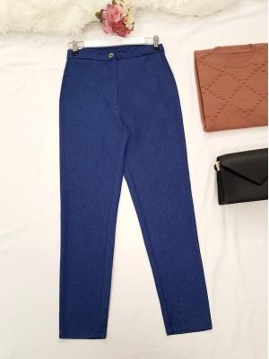 Single Button Front Zipper Winter Trousers -İndigo